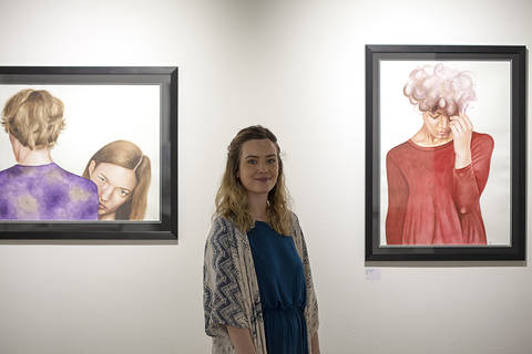 Morgan Hardie with her work during Spring Fling 2016. Photo by Colin Tennant