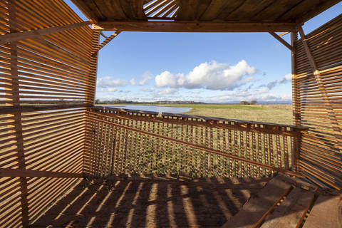 The Modern Makers bird hide on site at the RSPB reserve, the Crook of Baldoon. Photo by Colin Tennant