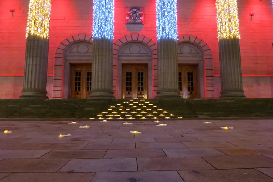 Angela Lloyd, 'If', Installation with 100 backlit vintage handkerchiefs, Caird Hall, 2015.