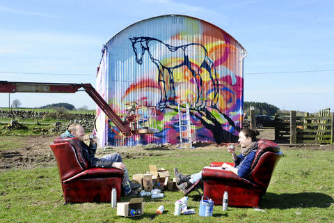 Mural by Amy Winstanley and Will Barras. Photo credit: Colin Hattersley