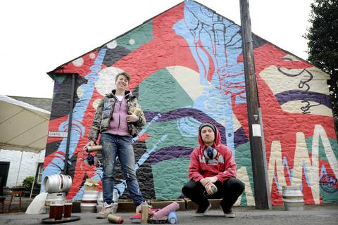 Amy Whiten & Ali Wyllie of Recoat collaborated with Morag Paterson to create a mural at Moniaive. Photo by Colin Hattersley
