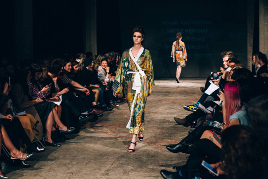 Morag Macpherson, Silk Patchwork Kimono on the catwalk of Scotland Re:Designed Showcase, Glasgow, 2015. Photo by Dominic Martin