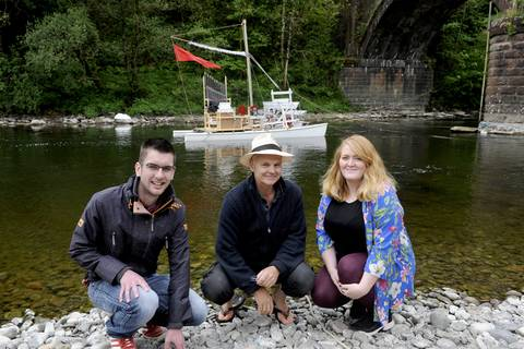 Councillor Adam Wilson (left) with Joanna Macaulay and artist Mark Zygadlo during Spring Fling 2019. By Colin Hattersley