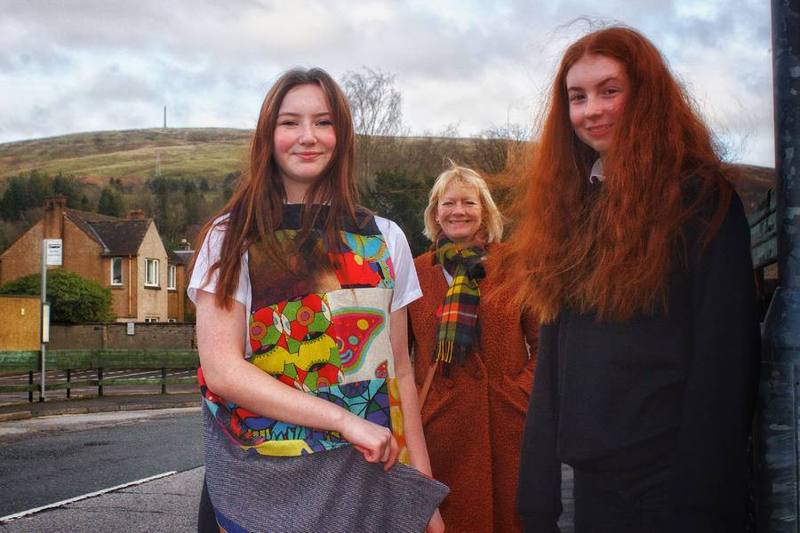 Pupils from Langholm Academy with Judith Johnson of the Langholm Initiative. Photo by Nicol Nicolson